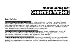 open brief voor generatie watjes geschreven door Jan Dauwe opleidingscoördinator aan de opleiding communicatiemanagement aan howest