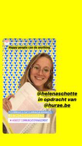 Helena Schotte stagiair bij Hurae in het kader van haar opleiding communicatiemanagement aan howest