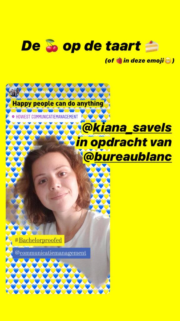 Kiana Savels stagiair bij Bureau Blanc in het kader van haar opleiding communicatiemanagement aan howest