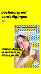 Shauny Holvoet stagiair bij Boss Paints in het kader van haar opleiding communicatiemanagement aan howest